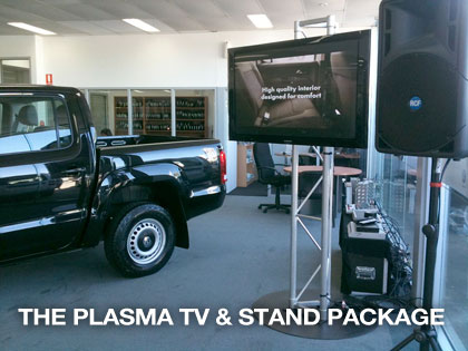 The sound guys provide plasma and tv stand package for promotional events