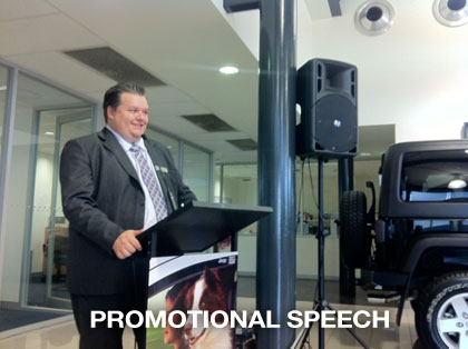 pa hire for promotional speeches