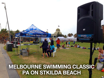 the sound guys provided PA for melbourne swimming classic on StKilda beach