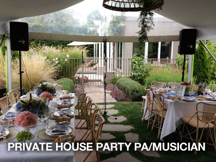 private house party and the sound guys provided pa hire and musician