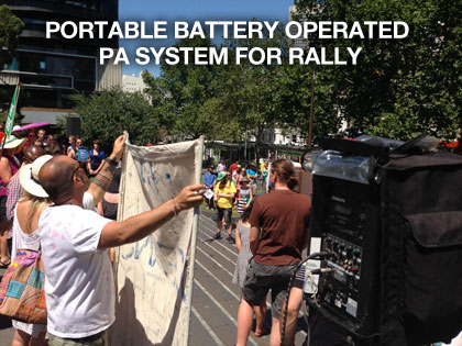 the sound guys supplying portable battery operated pa system for city rally
