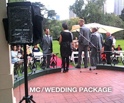 the sound guys supplied PA hire for MC wedding