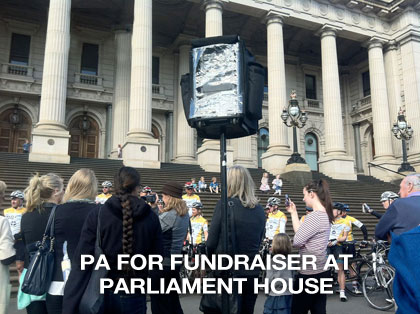 The sound guys supplied pa sound for fundraiser at Parliament House Melbourne